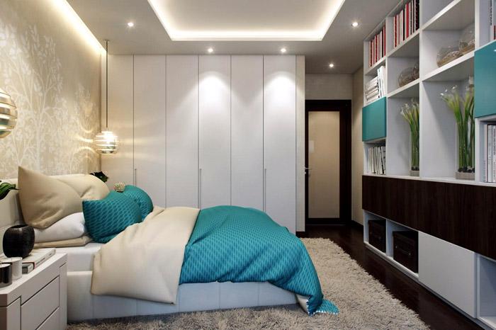 В спальне можно уместить и гардероб и книжные полки