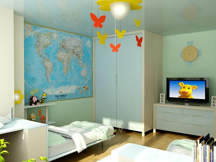 Спальня для школьников может включать в себя элементы учёбы, с обязательным рабочим местом