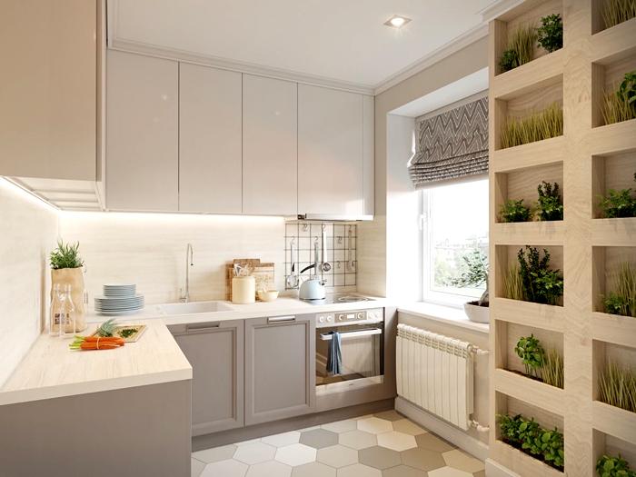 Угловое расположение гарнитура спасает любые кухни в плане эргономики пространства