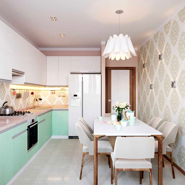 На кухне часто располагают зону столовой. Необязательно её зонировать, можно просто поиграть с цветом