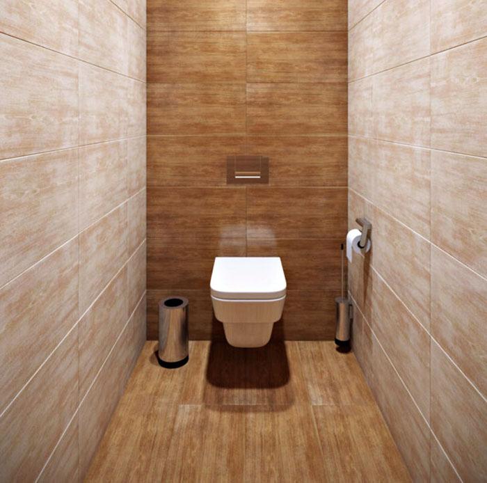 Дизайн туалета зависит от габаритов помещения. Узкие пространства следует оформлять светлыми или нейтральными тонами