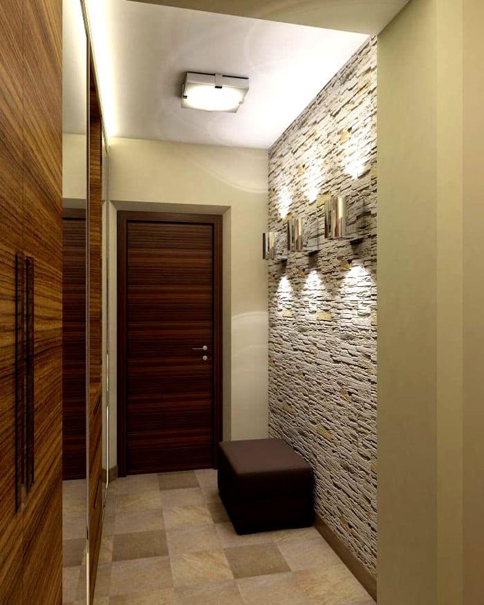 Фактурная стена светлых оттенков с подсветкой сделает интерьер выразительным