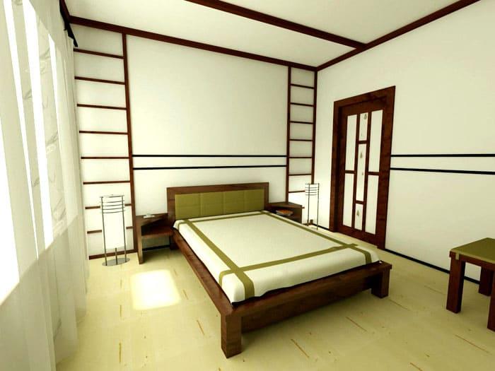 Раздвижные двери желательны между комнатами, а входные оформляются просто в таком же стиле
