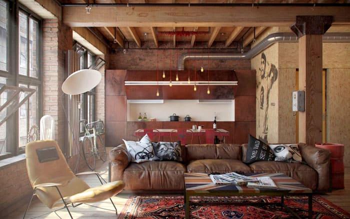 Планировка помещения должна напоминать индустриальную, которую облюбовали личности с нестандартными взглядами и творческим мышлением