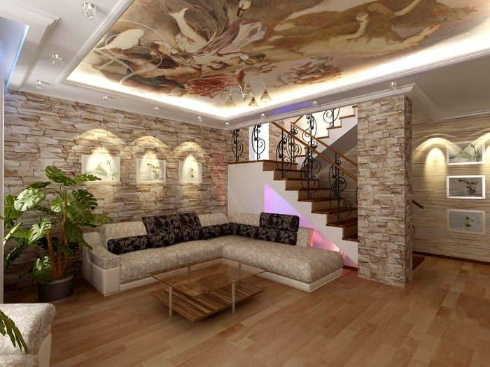 Потолок с фотопечатью сам по себе очень декоративен. Под ним удачно располагается угловой мягкий уголок, обстановка в целом очень даже романтична
