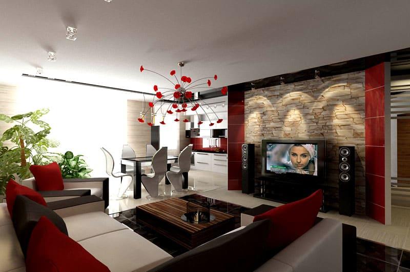 Несколько цветов приглушённых оттенков и фактурная стена под телевизор: вот и получается современно и красиво