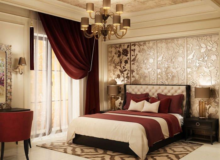 Задняя стена, оформленная фактурной декоративной штукатуркой, служит прекрасным фоном к такому дизайну