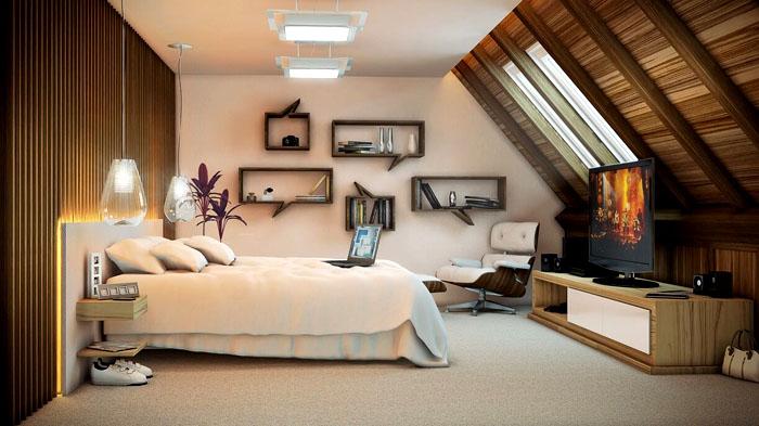 Дерево в сочетании с белым цветом прекрасно подходит для декорирования спальни на мансарде