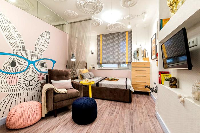 Подростковые комнаты уже оформляют более креативно, с рисунками на стенах
