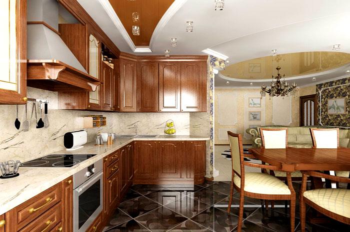 Зона столовой в кухне может быть и не выделена по-особенному, являясь органичной частью помещения. Особенно красиво, когда мебель подобрана в тон отделке