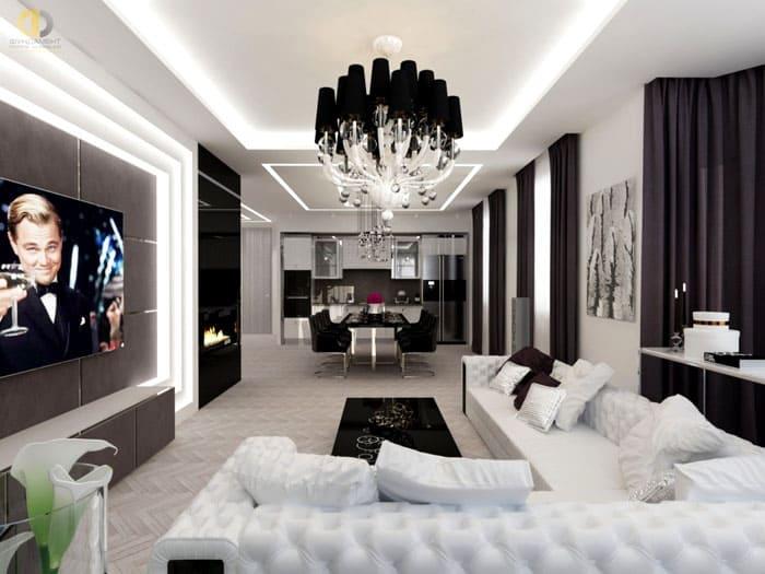 Для гостиной нужна люстра по центру, тогда как в спальне основными становятся источники света около прикроватной зоны
