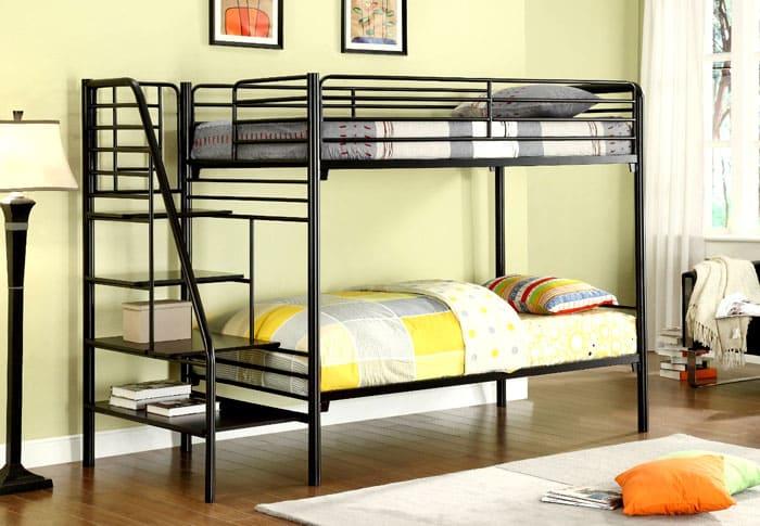 Ламели двухъярусных кроватей из металла могут быть не только из сетки, но из специальных пластин