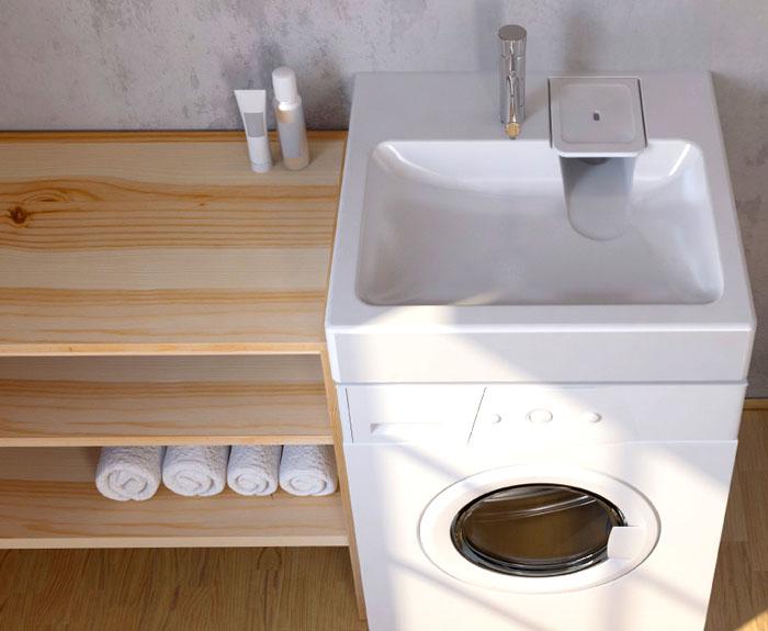 Как верх эргономичности, предлагается покупка раковины на стиральную машину
