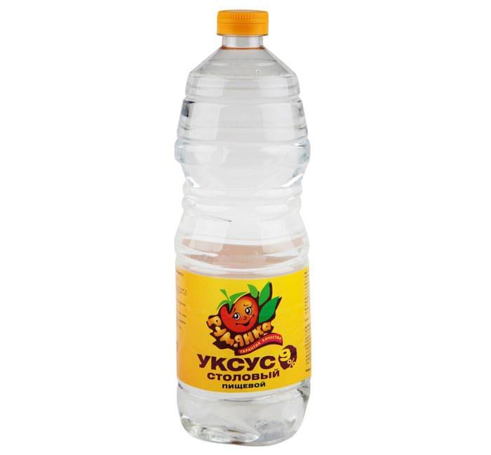 Уксус (9%) нужно предварительно развести с водой в пропорциях 1 к 2