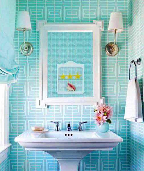 В ванных и туалетах это тоже подходящая расцветка
