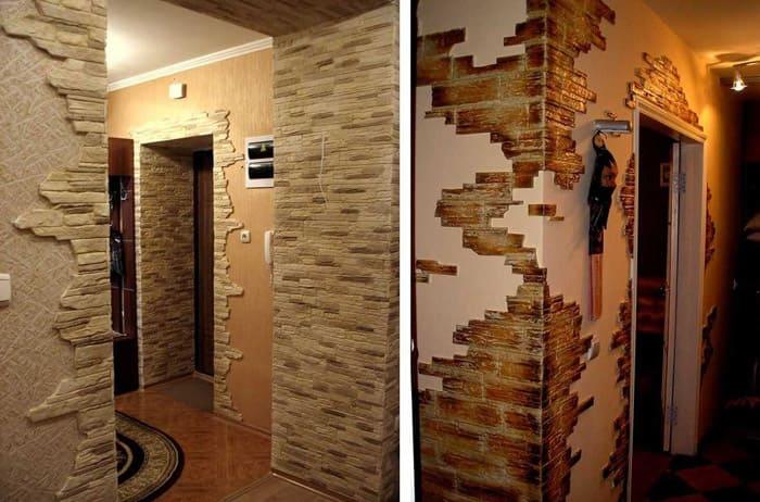 Стены оформляют гипсом или декоративной шпатлёвкой, создавая рельефы или приобретая псевдокирпичики