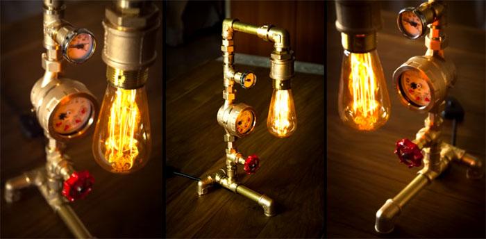 Лофтовые решения из металлических труб и лампочек Эдисона