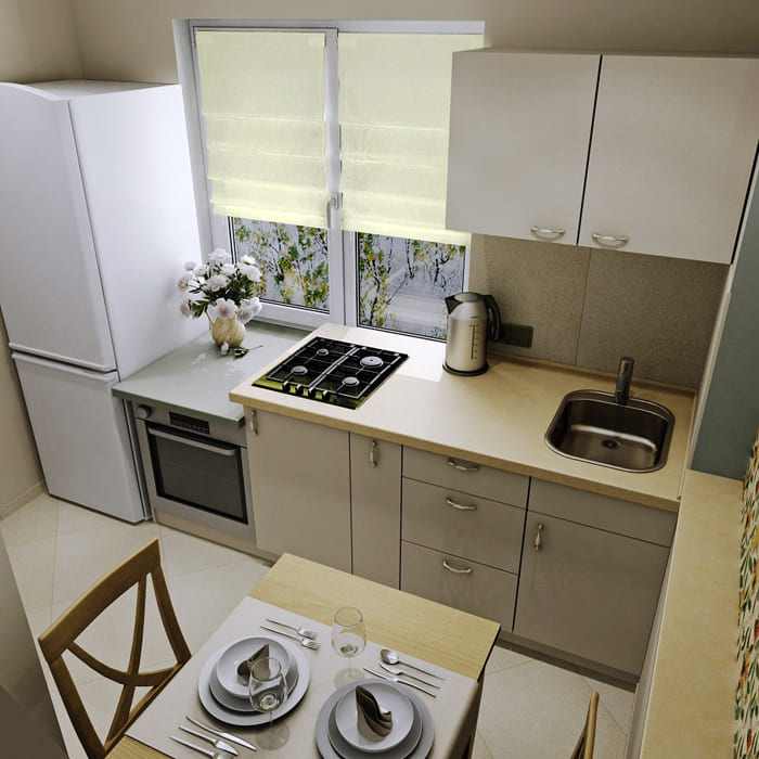 Вопрос в том, как разместить кухонный гарнитур. Именно его грамотный подбор и установка будет создавать ощущение простора и комфорта