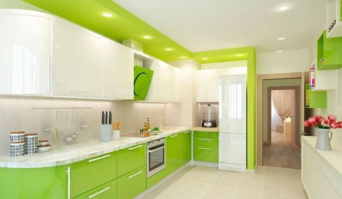 Кухни с выпуклым гарнитуром будут отлично смотреться в том случае, если обеденная зона в другом помещении