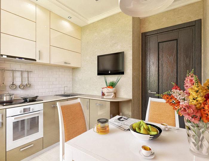 Оформление кухонного пространства можно планировать с некоторой геометрией на фасаде