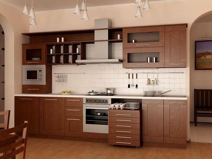 Линейная кухня может иметь выкатной пуфик или шкафчик с ящиками
