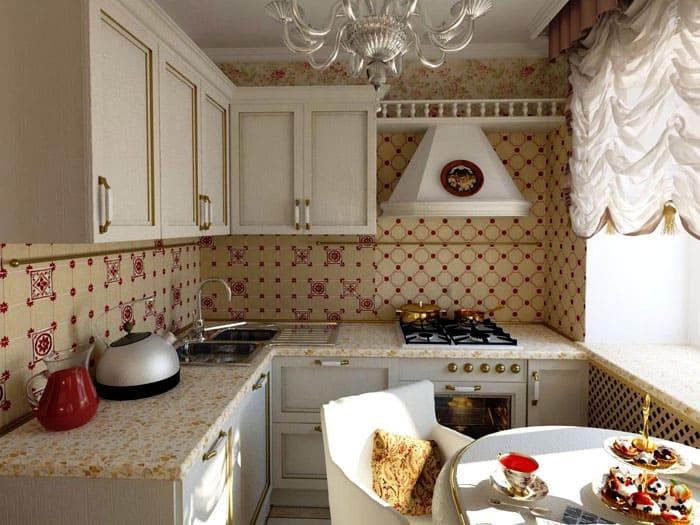 Столешница, продлевающаяся на подоконнике, визуально дополняет площадь кухни