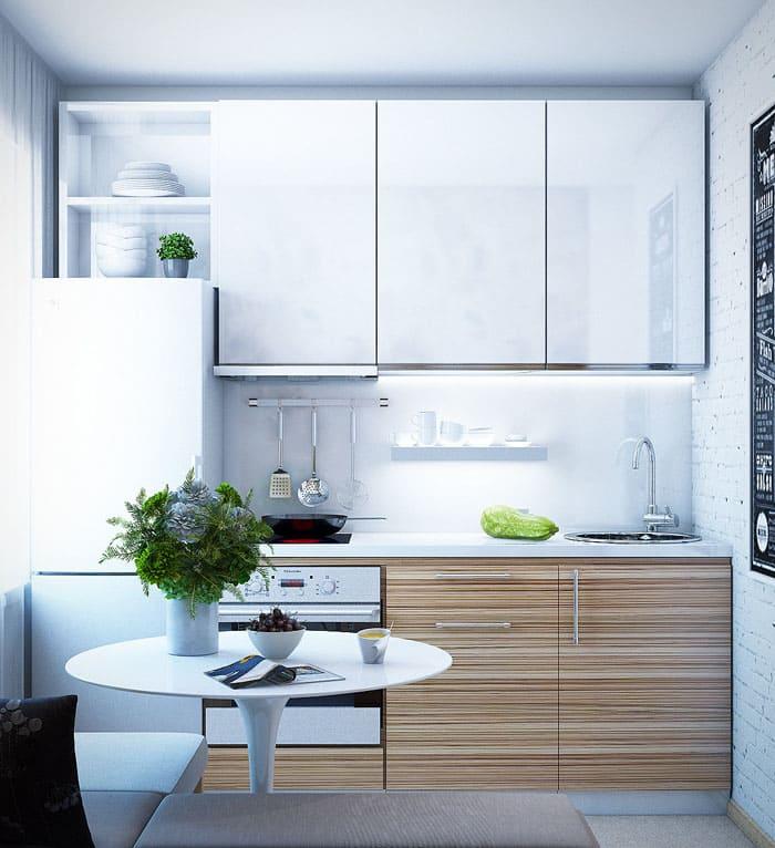 Кухня под дерево с горизонтальными линиями даёт возможность расширить визуально стены и длину рабочей зоны