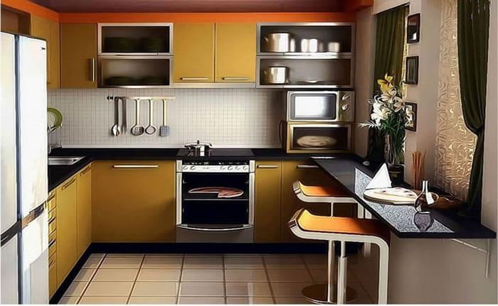 Длинная кухня с узким столиком, выполненным по типу барной стойки