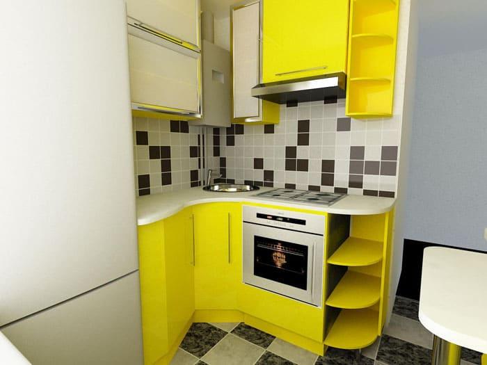 Небольшая рабочая зона и яркий оттенок кухни всегда создают позитивное настроение