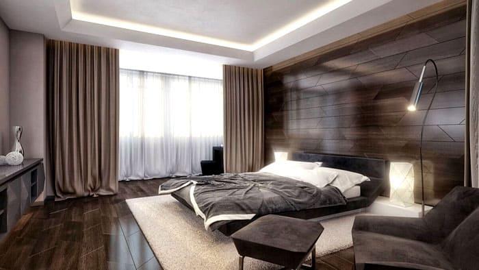 Дерево в качестве отделочного материала или панели «под дерево» с успехом справятся с задачей спального декора