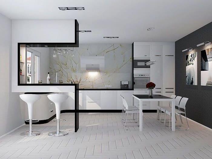 Гарнитур должен стать частью стены, пряча внутри всю кухонную утварь