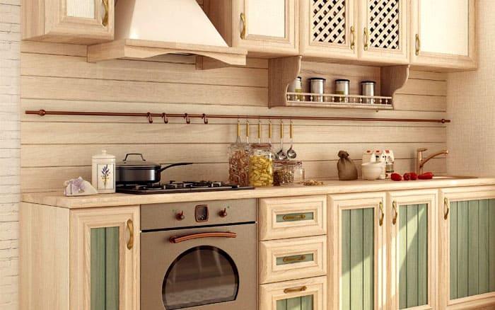 Шкаф и весь гарнитур должен рождать ощущение нахождения в истинно деревенском помещении с намёком на простую элегантность