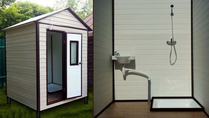 Постоянную кабинку можно дополнять санузлом прямо внутри, если позволяет площадь