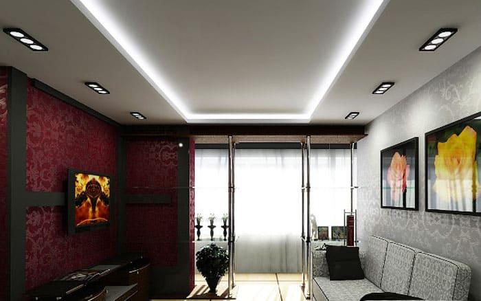 Двухуровневые конструкции послужат окантовкой гостиной
