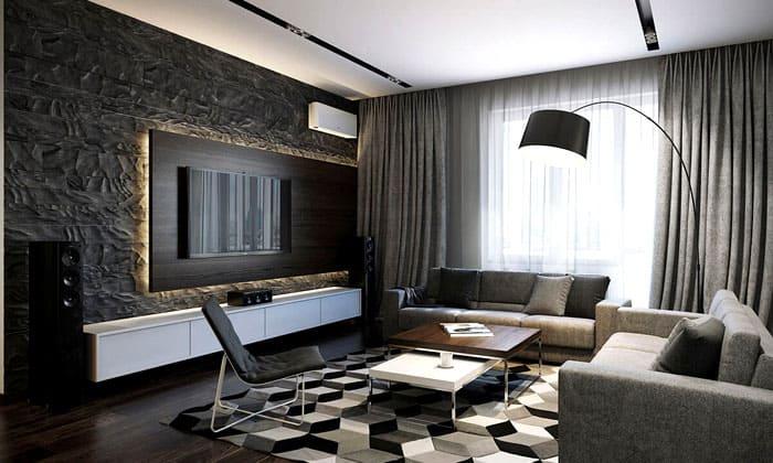 Для тёмных стен и обстановки тоже больше всего подходят белые потолочные конструкции