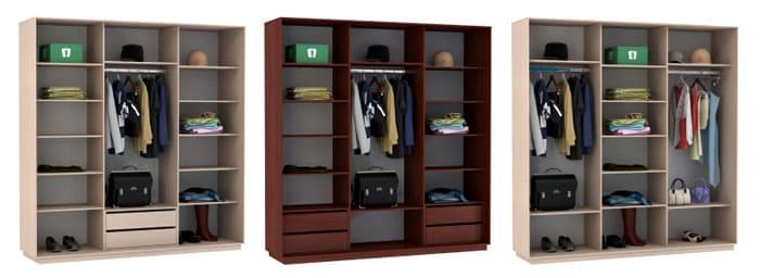 Целесообразно одно отделение использовать под хранение длинной одежды, а другое определить под рубашки и брюки