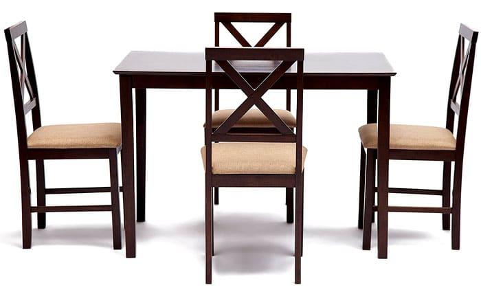 Стол и стулья из гевеи