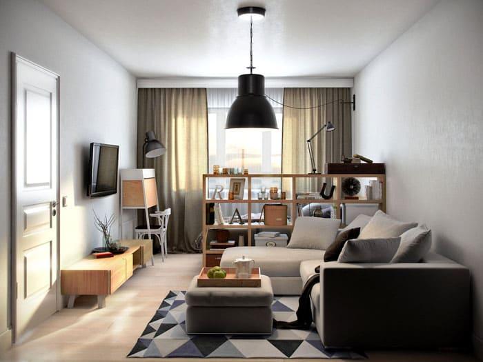 Грамотный подбор цвета и мебели поможет поделить комнату на зону, не украв свободное пространство