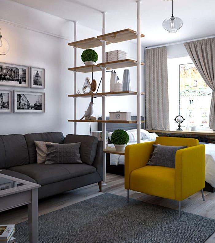 Если освещение позволяет, то и живые комнатные растения облагородят вид комнаты