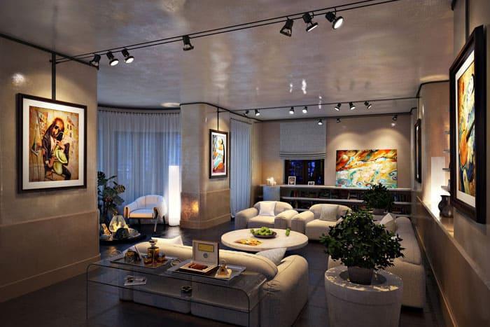 Квартиры студийного плана требовательны к верному размещению осветительных приборов как составляющей зонирования помещения