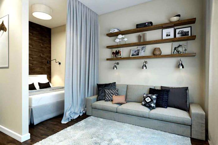 Сама кровать может быть скрыта в отдельной нише или зоне