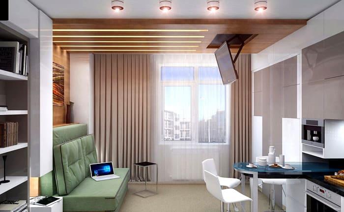 Вытянутая форма жилища заставляет решать проблему с освещением, так как от одного-двух окон света не слишком много