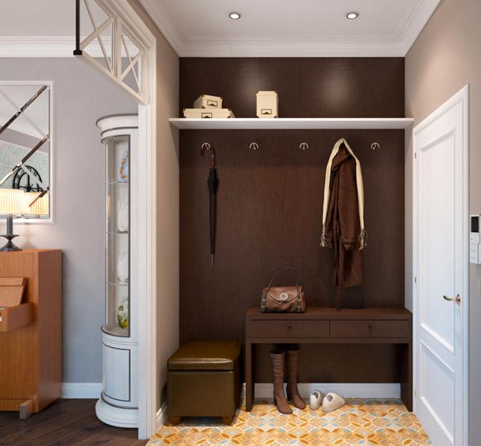 Если прихожая напоминает маленький закуток, то оставляют только компактную мебель, которая располагается вдоль стен и углов