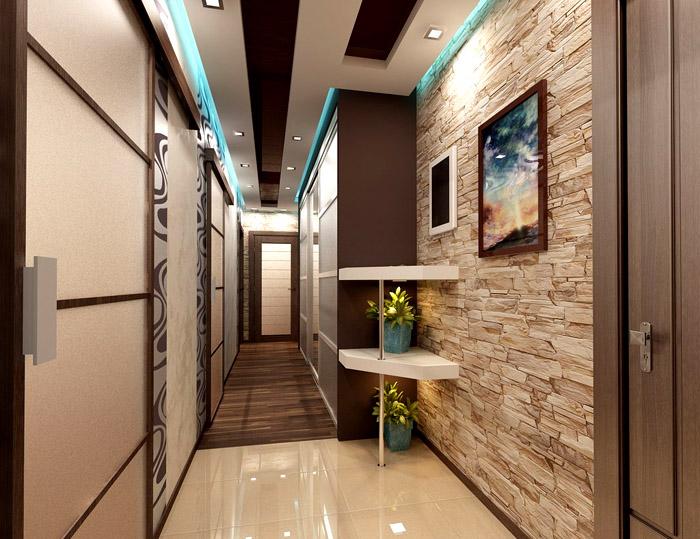 В длинных коридорах располагают шкафы-купе, которые кажутся продолжением стены