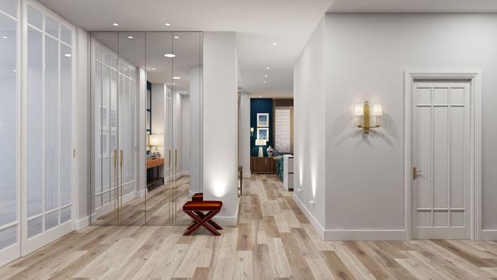 Матовый натяжной потолок и пол «под дерево» создают хорошее полотно для творчества в современном стиле