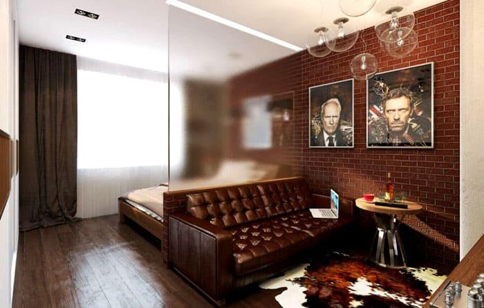 Матовая стеклянная перегородка позволяет отделить зону спальни, не меняя при этом интерьер