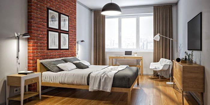 Набор деревянной мебели в ретро-стиле удобно расположится в спальне