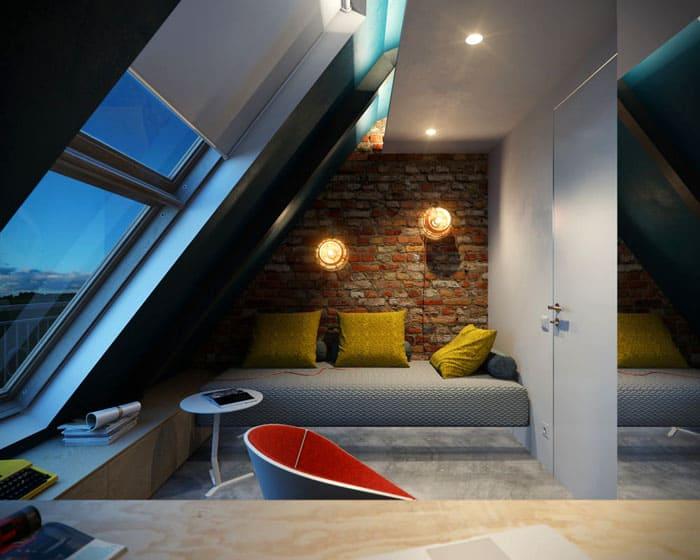 Спальню на мансарде полезно совместить с рабочим кабинетом