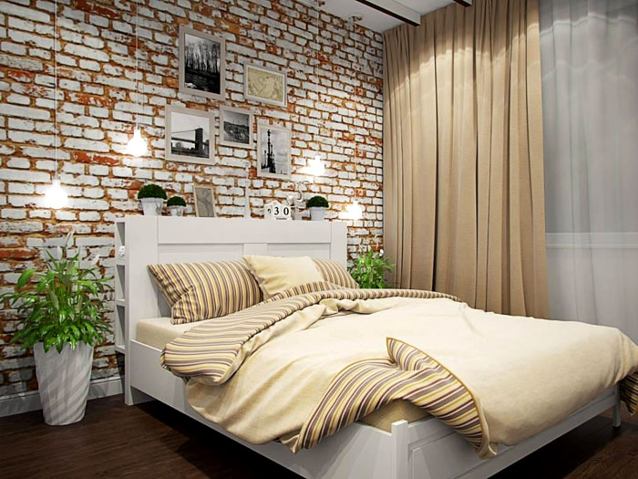 Текстиль светлый, как и кирпичная стена
