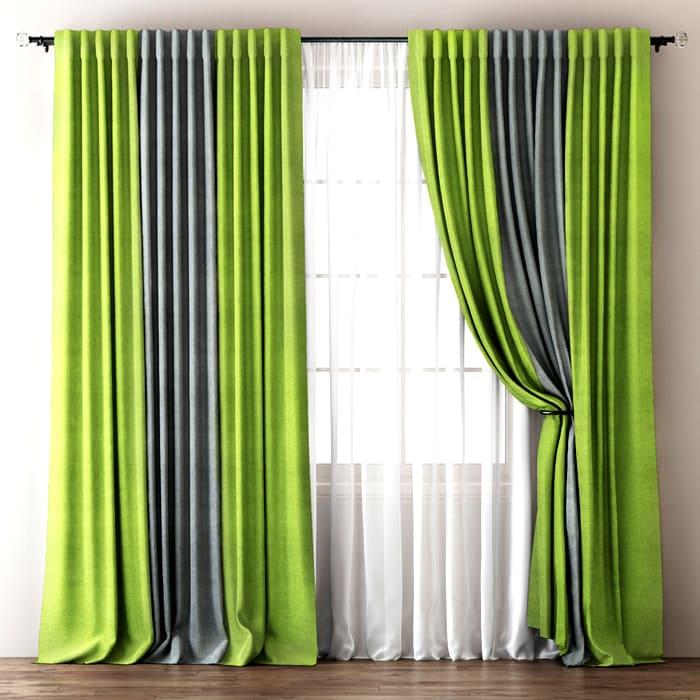 Для комнатных комбинированных штор стоит выбирать текстиль одной яркости